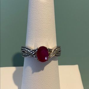 Jewelry - Sterling silver (925) simulated ruby ring!